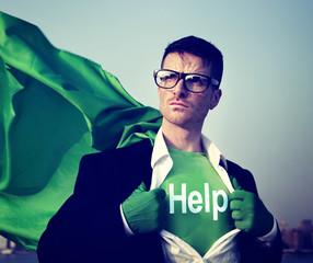 Superhero Businessman Help Word Concept