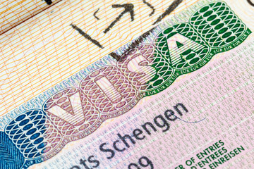 Schengen visa in the passport