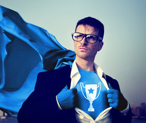 Trophy Strong Superhero Success Professional Concept