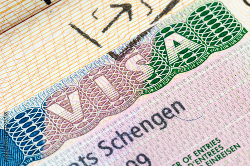 canvas print picture Schengen visa in the passport