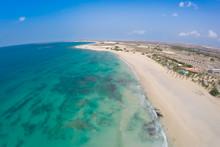 "Постер, картина, фотообои "" Aerial view on sand dunes in Chaves beach Praia de Chaves in Bo"""