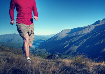 Man Jogging Mountains Exercise Wellbeing Concept