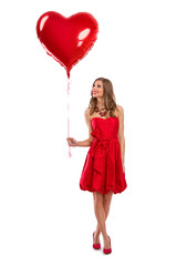Attractive Valentine's Day girl with balloon