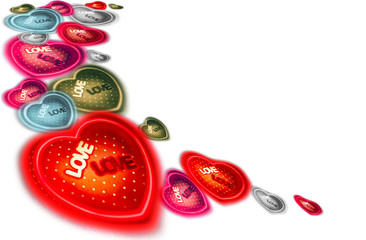 Abstract heart-shaped set different color on white background