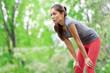 Asian woman athlete runner resting after running