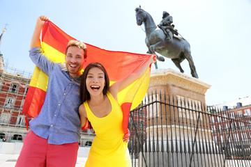 Madrid people showing Spain flag on Plaza Mayor