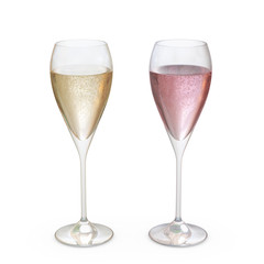Champagne Tulip Glasses set with liquid, clipping path included