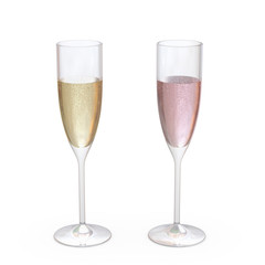 Champagne Flutes Classic Glasses set with liquid, clipping path