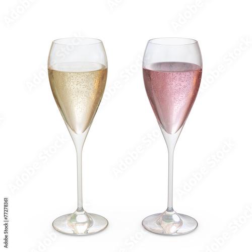 Leinwandbild Motiv Champagne Tulip Glasses set with liquid, clipping path included