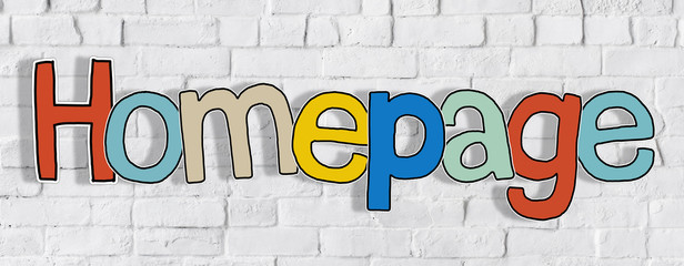 Word Homepage Brick Wall Background Text Concept
