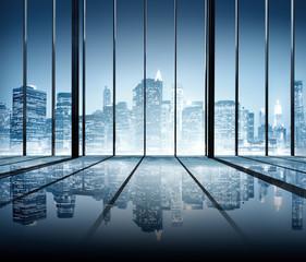 Office Cityscape Building Interior Room Modern Concept