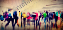 "Постер, картина, фотообои ""People Consumer Shopping Commuter Consumerism Crowded Concept"""