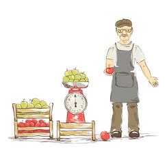 An older man sells apples. Vector illustration.