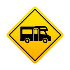 Señal amarilla autocaravana