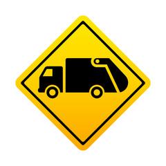 Señal amarilla camion basura