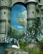 Ruiny zamku nad wodą z łabędziem
