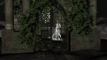 Magic Witch of the Night. Fantastic Princess inside Crypt