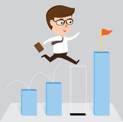 Businessman jump off falling down chart, vector illustration
