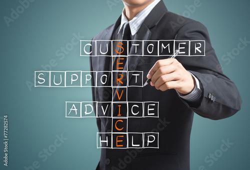 Leinwanddruck Bild Business man writing customer service concept