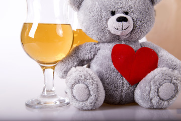 Bear and champagne