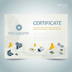 photography certificate template design vector photo camera