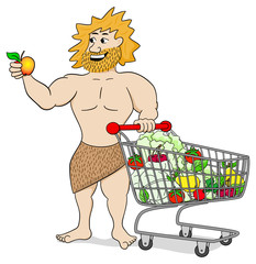 Höhlenmensch mit Einkaufswagen mit Obst und Gemüse gefüllt