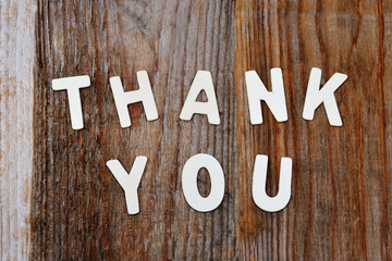thank you words on wooden background