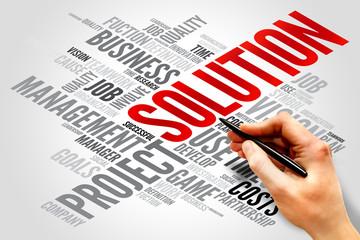 SOLUTION word cloud, business concept