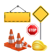 Set of Under Construction Sign in White Background