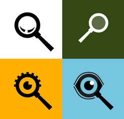 Search vector logo design template. magnifying glass or zoom