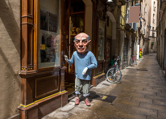 Old streets of Barrio Gotico in Barcelona, Spain