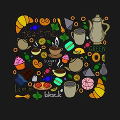 Vector card with cups and teapots.