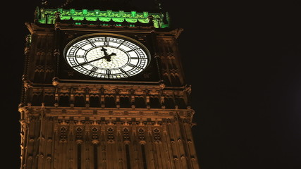 Zoom in time lapse of Big Ben coming up to midnight