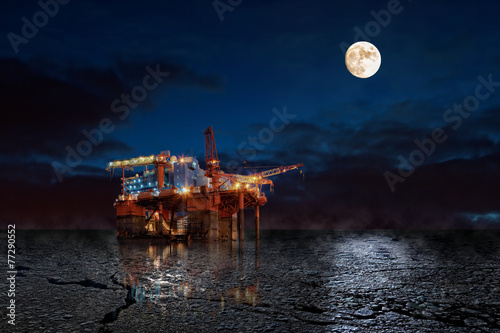Keuken foto achterwand Schip Oil Rig at night in winter scenery.