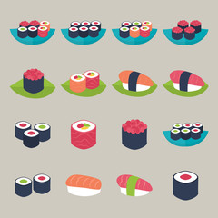 Flat style vector illustrations set. Sushi set over beige