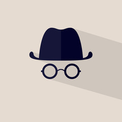 Icon hat and glasses Vector file layered for easy manipulation a