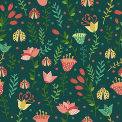 Floral seamless pattern with ladybugs