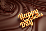 Happy valentines day. Chocolate swirl background.