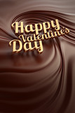 Gold Happy valentines day. Chocolate swirl background.