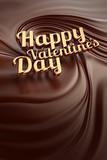 Gold Happy valentines day. Chocolate swirl background.