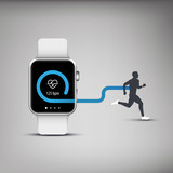 Fitness tracker application for smart watch concept with heart poster