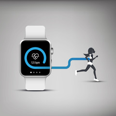 Fitness tracker application for smart watch concept with heart