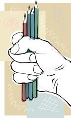 hand holding pencils