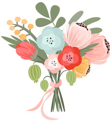 Vector illustration of beautiful bridal bouquet