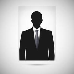 Profile picture whith tie. Unknown person silhouette