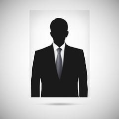 Profile picture whith tie. Unknown person silhouette