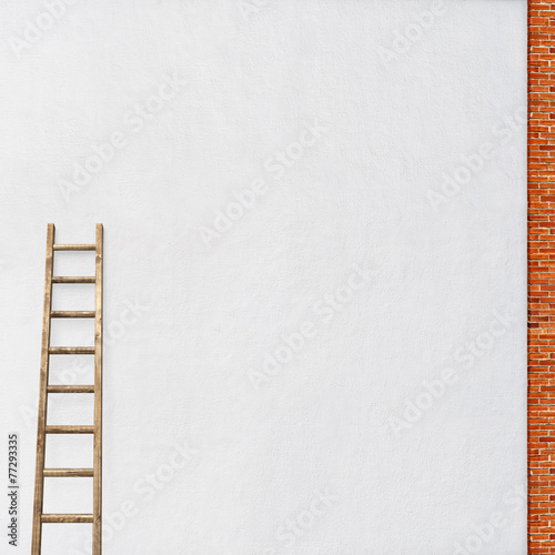 Foto op Plexiglas Wand white wall with a wooden ladder
