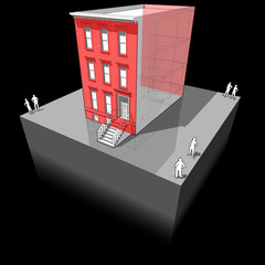 Townhouse with additional wall insulation