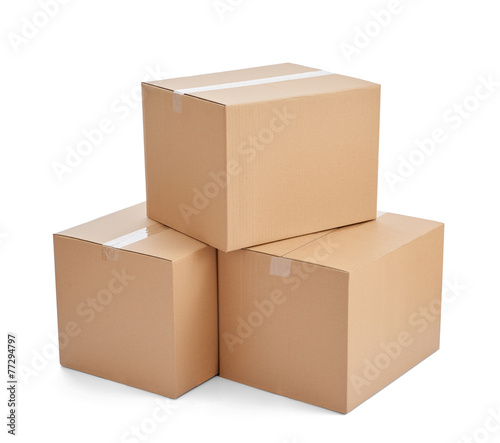 Leinwanddruck Bild box package delivery cardboard carton stack