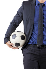 Professional businessman with ball